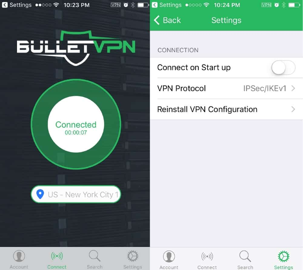 L'application mobile BulletVPN.