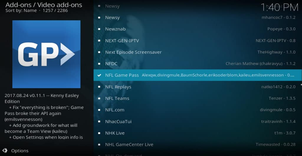 Module Nod Game Pass Kodi