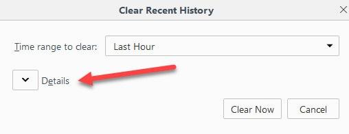 فايرفوكس تفاصيل ذاكرة التخزين المؤقت واضحة