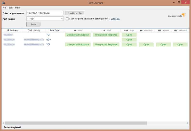SolarWinds PortScanner-Screenshot