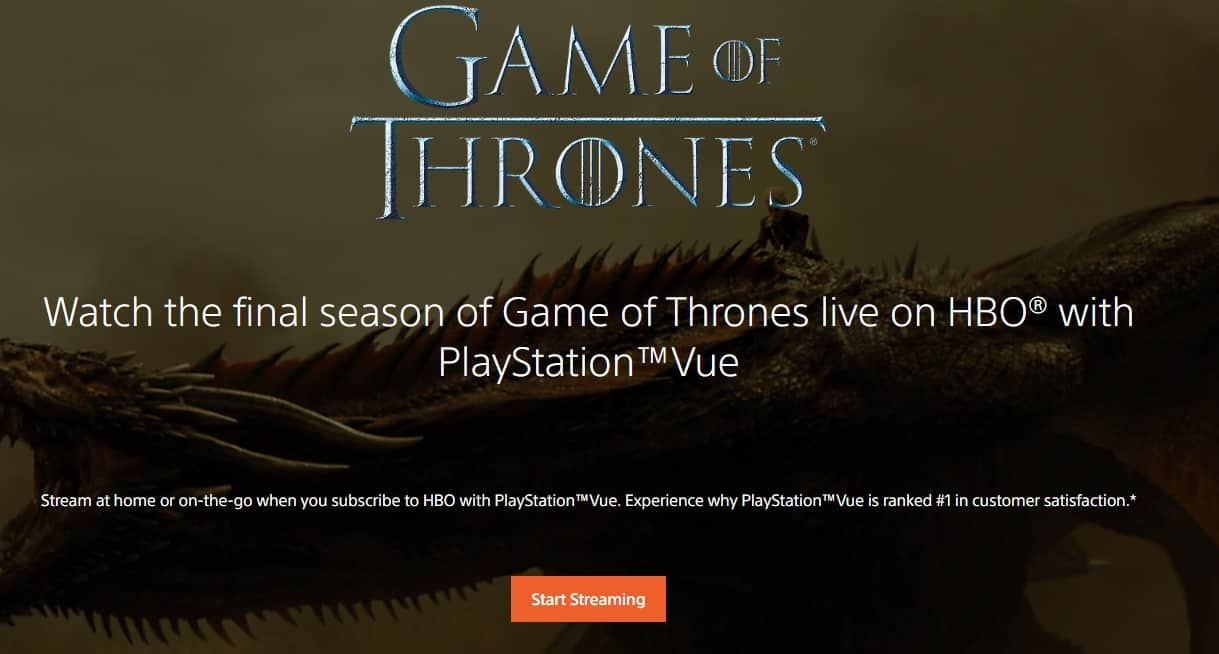 PlayStation Vue Game of Thrones
