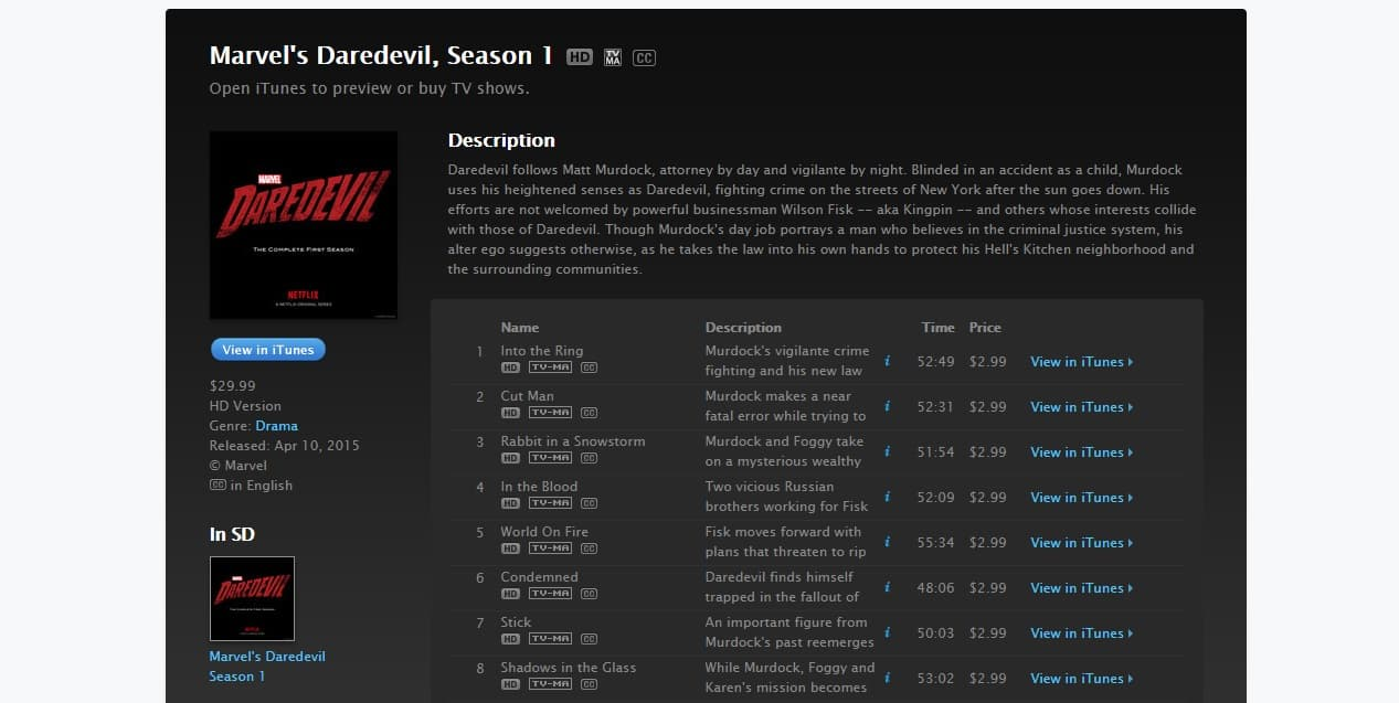 Marvel's Daredevil en itunes