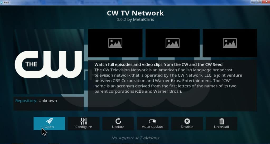 cw tv network addon kodi
